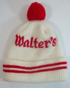 3b96351037c Walters Beer Stocking Cap Beanie Tobaggan Vintage Tassle White Red