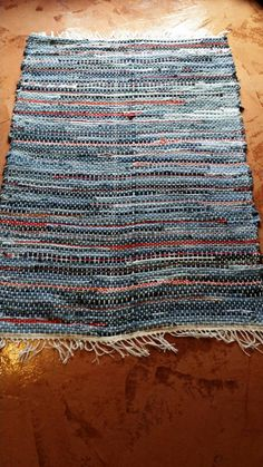 Denim with Red Fabric Handwoven Denim Rug, Rag Rug, Floor Rug Check out this item in my Etsy shop https://www.etsy.com/listing/232230070/denim-with-red-fabric-handwoven-denim