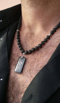 Mens beaded necklace. Mens necklace. Surfer necklace.Lava rock necklace. Men's choker. Bohemian necklace for men. #accessories #jewelrygram #jewelryinspo #cbloggers #beadlove