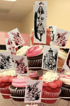 Instead of a birthday cake we did Cupcakery cupcakes and printed our own cupcake toppers from illustrations of the original Alice in Wonderland book.