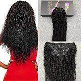 Moresoo 14 Inch Black Women Hair Product Afro Kinkys Curly Clip ins 7 Pieces 120g Full Head Set Off Black Color Clip in Brazilian Human Hair