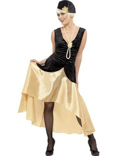 Join the decade long party in this style Great Gatsby Girl Womens costume. This great costume includes a black and gold dress, pearl necklace and matching hat. Time to kick up your heels and bust out the Charleston. 1920s Fancy Dress, Ladies Fancy Dress, Gatsby Dress, Gatsby Outfit, Flapper Dresses, Costume Cabaret, Gatsby Costume, Dress Hats, Costume Dress