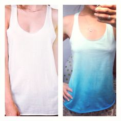"""DIY Ombre tie dye shirt. It was a fun way to make some of the plain white racer back tanks I have, look much cuter. Forever 21 racer back tank, tie dyed in the """"gradation"""" method, set, rinsed, washed, and ready to wear. Fun! @Christina"""