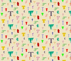Initially_T fabric by lesleyclover-brown on Spoonflower - custom fabric