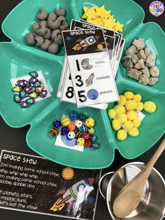 Space Counting Stew A Fun Game For Preschool, Pre-K, And Kindergarten To Practice Counting, Sorting, And Identifying Numbers Space Theme Preschool, Space Activities, Preschool At Home, Preschool Science, Preschool Classroom, Number Activities, Space Projects, Space Crafts, Space Classroom