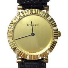 Pre-owned Tiffany & Co. Atlas 18K Yellow Gold / Leather with Yellow... ($2,480) ❤ liked on Polyvore featuring jewelry, watches, gold wrist watch, engraved watches, 18k gold watches, leather crown and leather wrist watch