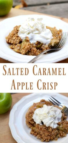 This Salted Caramel Apple Crisp recipe is so easy to make and a great way to welcome fall! Crunchy oats creamy caramel and tart apples combine for a dessert the whole family will love! Top it with whipped cream or ice cream and then enjoy this sweet appl Healthy Apple Desserts, Apple Dessert Recipes, Healthy Vegan Snacks, Köstliche Desserts, Delicious Desserts, Autumn Desserts, Apple Crisp With Oatmeal, Caramel Apple Crisp, Caramel Apples