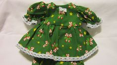 """Green CandyCane Print Dress/bloomers, fits 10"""" Lots to Love Berenguer babies #KindredHeartsDesigns"""
