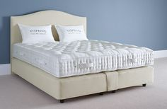 The Vispring Regal superb mattress from And So To Bed features a careful blend of horsetail & British fleece wool, finished in a satin ivory fabric covering.