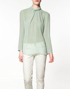 Knot collar blouse - brilliant - Zara