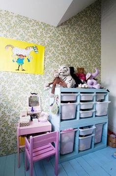 the boo and the boy: cool kids' room. IKEA storage doubled (and painted I think).