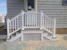 Distinguished surpassed patio deck ideas go to my site Front Porch Steps, Small Front Porches, Patio Steps, Front Porch Design, Side Porch, Decks And Porches, Porch Stairs, Exterior Stairs, Outdoor Stairs