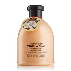 Relax with our new Vanilla Chai foaming bath. This mouth-watering festive scent perfectly captures the treat-yourself season. So, sit back, breathe deep and enjoy the scent of Christmas in your down time with this blissful bath foam. The Body Shop, Vanilla Chai, Milk Bath, Vegan Beauty, Body Spray, Body Care, Bath And Body, Perfume Bottles, Fragrance