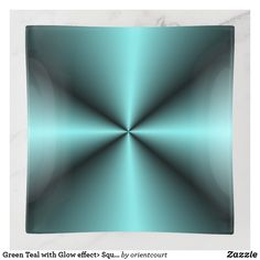Green Teal with Glow effect> Square Trinket Tray Glow Effect, Creative Walls, Fused Glass, Safe Food, Tray, Clock, Green, Prints, Design