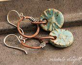 Blue Sky and Sunburst Ceramic Earrings
