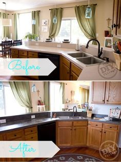 Amazing DIY Concrete Countertops Kitchen Countertop Makeover. I love the lights I've the counters!