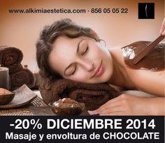 #CHOCOLATERAPIA,  El poder del #chocolate va más allá de sus propiedades relajantes, desintoxicantes, nutritivas y reafirmantes. Al potenciar la producción de endorfinas en nuestro organismo nos ayuda a levantarnos el ánimo y a estar de buen humor. Disfruta de sus beneficios sin ingerir una caloría más, dale un gusto al cuerpo y combate la celulitis. Peeling de cacao + envoltura de chocolate + masaje con aceites esenciales, 20% de descuento hasta final de diciembre.