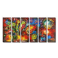 met+de+hand+geschilderd+abstract+olieverfschilderij+met+gestrekte+frame+-+set+van+6+–+EUR+€+156.74
