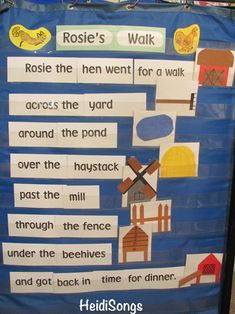 In my class, we also read the real version of Rosie's Walk and put the words on a pocket chart, and then matched the pictures to the words. Kindergarten Language Arts, Kindergarten Science, Positional Words Kindergarten, Kindergarten Centers, Rosies Walk, Positional Language, Farm Animals Preschool, Map Skills, Life Skills