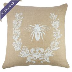 Burlap pillow showcasing a vintage-inspired French typography motif. Handmade in the USA.    Product: PillowConstru...