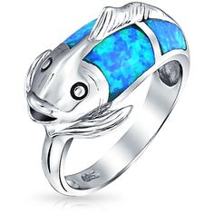 Bling Jewelry Koi Pond Ring (27 AUD) ❤ liked on Polyvore featuring jewelry, rings, blue, nautical rings, imitation jewellery, fish ring, nautical jewelry and blue ring