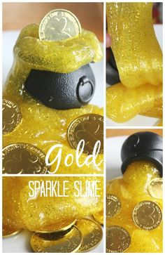 Gold slime with glitter and coins for St Patricks Day science play. Easy homemade slime for preschool, kindergarten, and grade school St. Patrick's Day activities