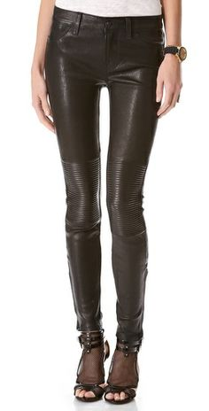 When you're in the mood to look totally rocker-chic, these J Brand Nicola Leather Moto Pants do the trick. #fashion #clothing
