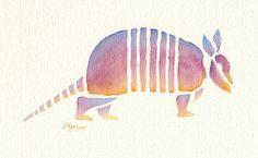 watercolor of armadillo