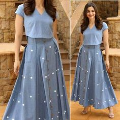 Image may contain: 1 person Kurti Designs Party Wear, Lehenga Designs, Indian Designer Outfits, Indian Outfits, Designer Dresses, Fashion Drawing Dresses, Fashion Dresses, New Dress Design Indian, Indian Gowns Dresses