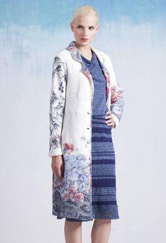 Collar Coat, Floral Print - Mantel | Ivko Woman