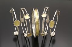 Charming+Bangles by Sana+Doumet: Gold+&+Silver+Bracelet available at www.artfulhome.com