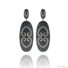 Diamond Black Spinel Earrings