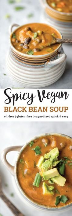 This spicy vegan black bean soup is hearty, thick, full of flavour and nutrition and has just the right amount of spice. It's high in fibre and protein, low in fat and is oil-free, gluten-free and easy to make in under 30 minutes with simple, everyday ingredients. via @runonrealfood