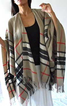 Vintage Wool Plaid Poncho Shawl Wrap by CowboyandNinja on Etsy, $42.00 Poncho Shawl, Moccasin Boots, Travel Outfits, Vintage Wool, Scarfs, Capsule Wardrobe, Plaid Scarf, Looks Great, Burberry