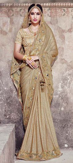 180344: Beige and Brown color family Bridal Wedding Sarees with matching unstitched blouse.