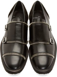 Giuseppe Zanotti Black Zippered Monk Strap Shoes, Mens Fall Winter Fashion.