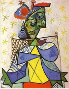 Seated woman with blue and red hat, 1939, Pablo Picasso Medium: oil on canvas