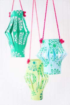 Paper lanterns are a beautiful construction paper craft to make.