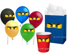 Ninjago Party Favors, Ninjago Balloon Stickers Gift Bags or Plastic Cups - Ninjago Party Favor To Match Ninjago Invitations. $2.50, via Etsy.