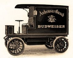 old beer delivery trucks | Antique Truck Print - Columbia Elec tric Budweiser Delivery Truck ...
