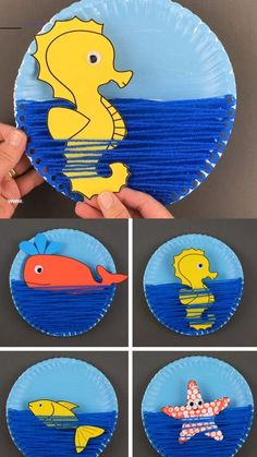 A yarn and paper plate ocean craft for kids to make this summer. An interactive sea craft for preschoolers and older kids with ocean animals: seahorse, star fish, fish and whale. Printable template available. for kids Paper plate ocean craft