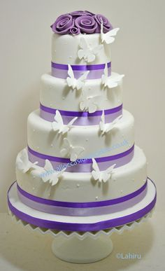 classic wedding cake with butterflies - Google Search