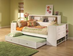 Admirable Enchanting White Trundle Daybeds For Inspiring Space Saving With Full Storage Drawers And Cabinet Shelf On Bed Frames Also Headboards, Ravishing Kids Room Design With Space Saving Bedroom Furniture Ideas: Bedroom, Furniture, Interior, Kids room