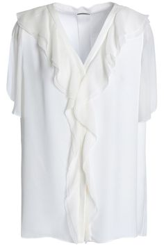 Shop on-sale ELIE TAHARI Opaline ruffle-trimmed silk crepe de chine blouse. Browse other discount designer Sleeveless Top & more on The Most Fashionable Fashion Outlet, THE OUTNET. Satin, Silk Crepe, Crepe Top, Chiffon Ruffle, Elie Tahari, Ivoire, Fashion Outlet, Fitness Models, Luxury Fashion