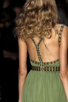 The Back of this green dress is amazing!