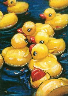 Rubber Duck paintings - by Lesley Spanos