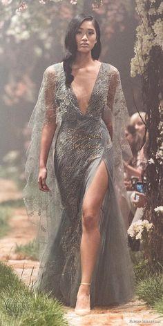 paolo sebastian spring 2018 couture half sleeves deep v neck full embellishment side slit elegant sheath a  line wedding dress (31) mv -- Paolo Sebastian Spring 2018 Couture Collection
