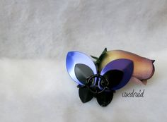 Scale Butterfly Barrette Purple and Black Hand Made by wxdruid, $6.00