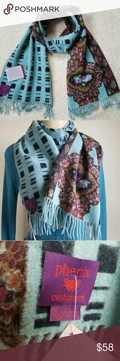 """Phenix Cashmere Scarf Beautiful 2 sided print cashmere scarf with delicate fringe trim at ends. The perfect addition to your winter wardrobe. Luxuriously soft, 100% cashmere. Generous length. 12""""x60"""" Phenix Accessories Scarves & Wraps"""