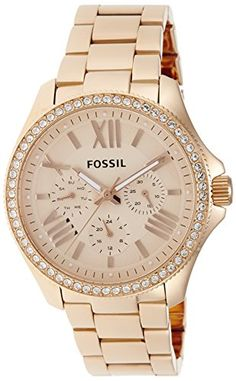 Fossil Womens AM4483 Cecile Rose GoldTone Watch with Crystals *** Read more reviews of the product by visiting the link on the image.